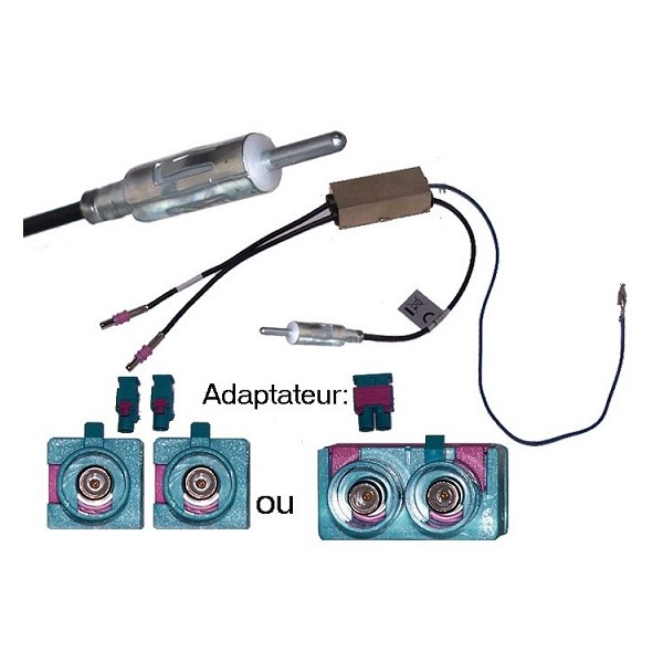 Adaptateur d antenne amplifie double fakra din male audi - Doubleur d antenne tv ...