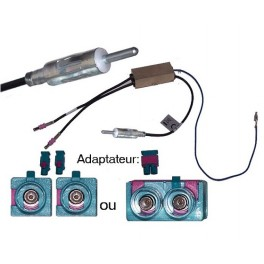 ADAPTATEUR D ANTENNE AMPLIFIE DOUBLE FAKRA DIN MALE MERCEDES