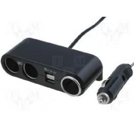 TRIPLE PRISE ALLUME CIGARE 12V 1A AVEC SORTIE USB 5V 1A