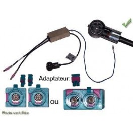 ADAPTATEUR D ANTENNE AMPLIFIE DOUBLE FAKRA ISO MALE AUDI